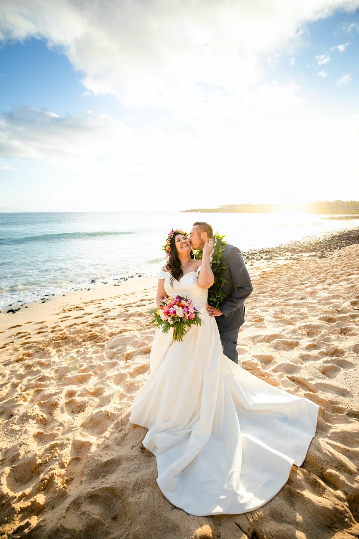 Briana & Sean on the beach in Hawaii.
