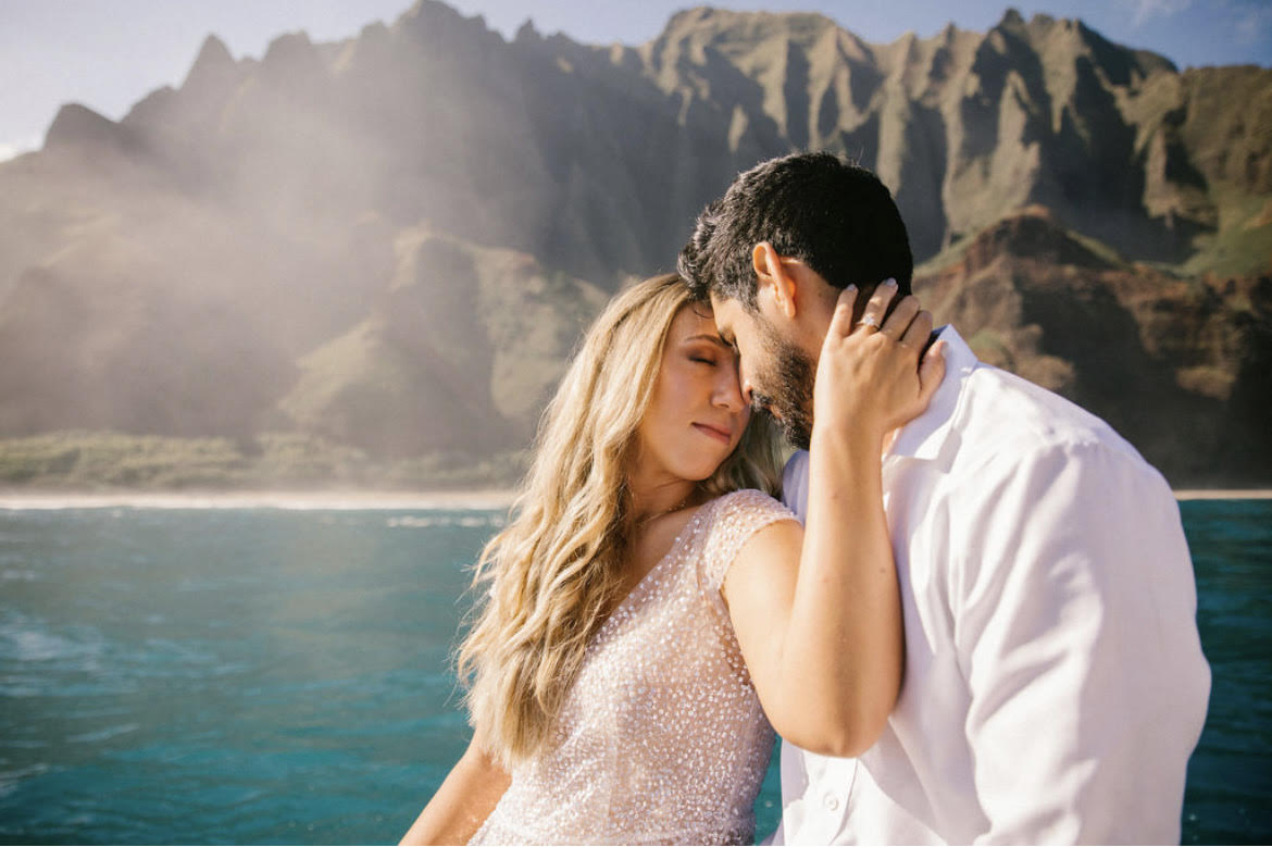 Elopement on a boat on the Napali Coast..