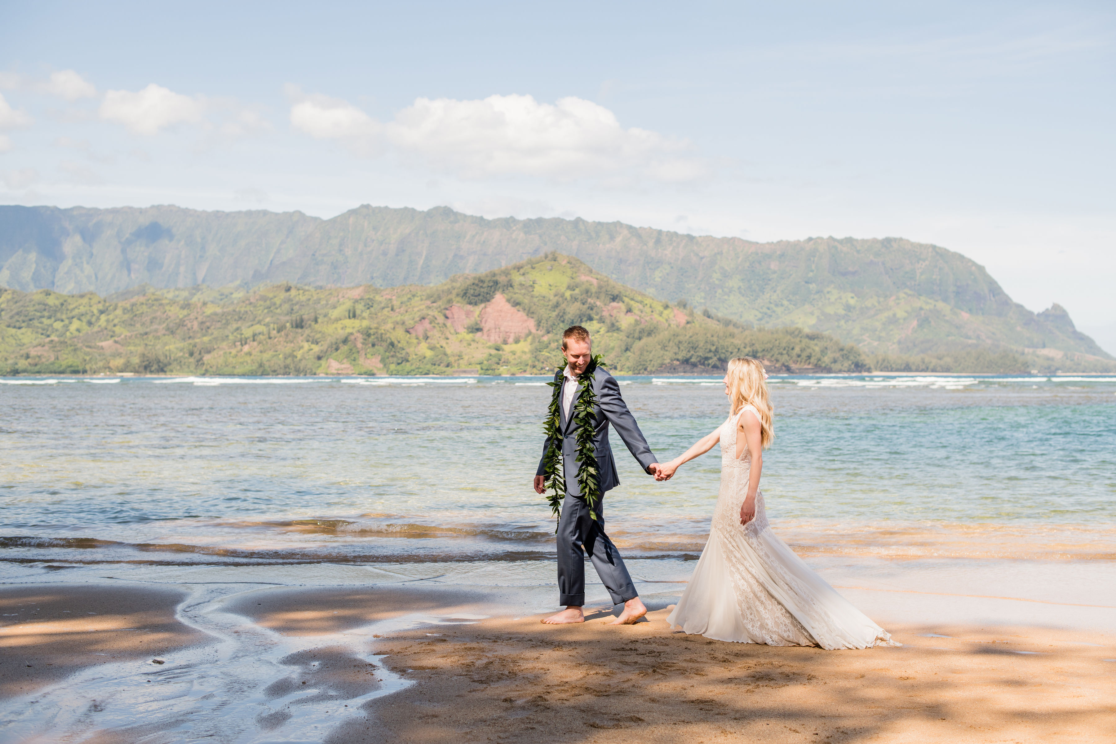 Morning ceremony at Puu Poa beach for Teri and Dallis' Kauai Elopement