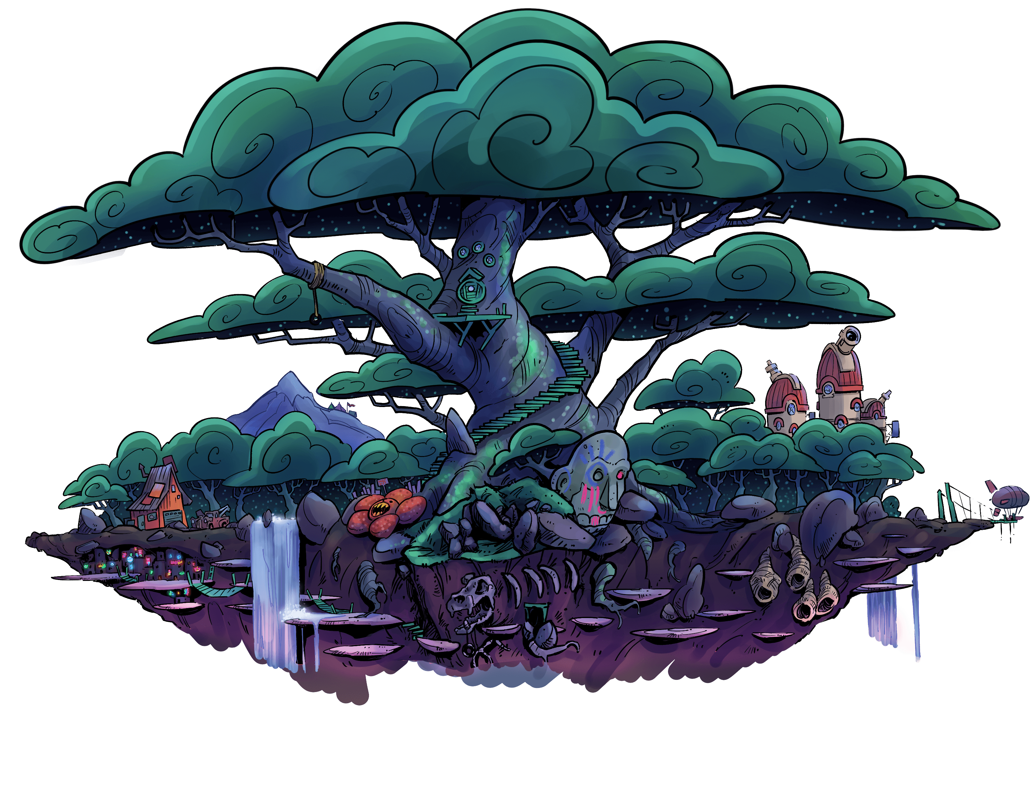 The Star Forest island floating in the sky surrounded by pink clouds that part as you get closer.  Flitting around are Star Slugs glowing blue, waiting to greet you.