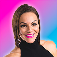 Headshot of Danielle Natoni wearing a black sleeveless turtleneck dress smiling with pink lipstick against a pink and blue gradient background