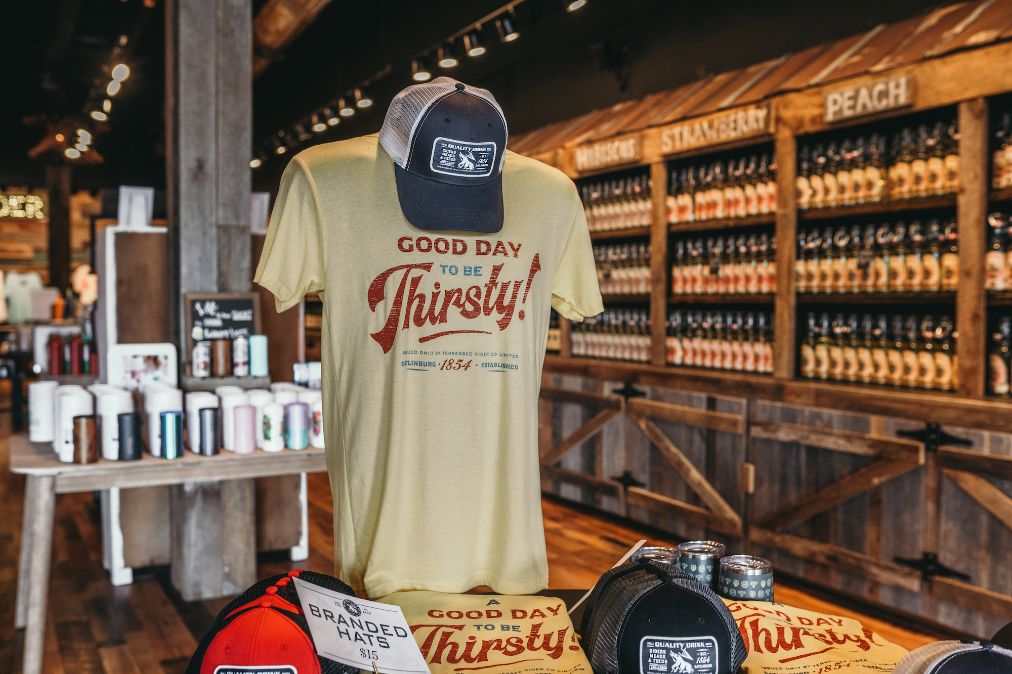 A shirt on display in Tennessee Cider Company's Tanger Outlet Location - Tennessee Cider Company offers many products other than cider for your enjoyment in Gatlinburg and Sevierville Tennessee