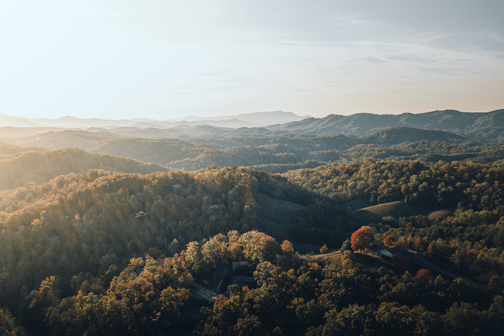A picturesque image of the smoky mountains from the air. Some of the views you will have when staying at the AirBNB's owned by Tennessee Cider Company's owners