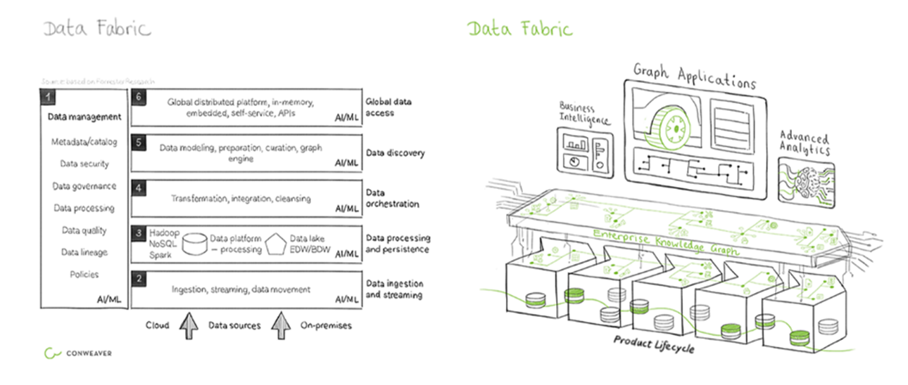 Knowledge graphs as a central component of the data fabric