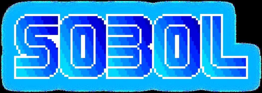 8-bit SOBOL logo filled with a blue gradient