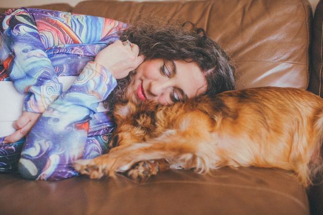 Kara laying down with Liberty