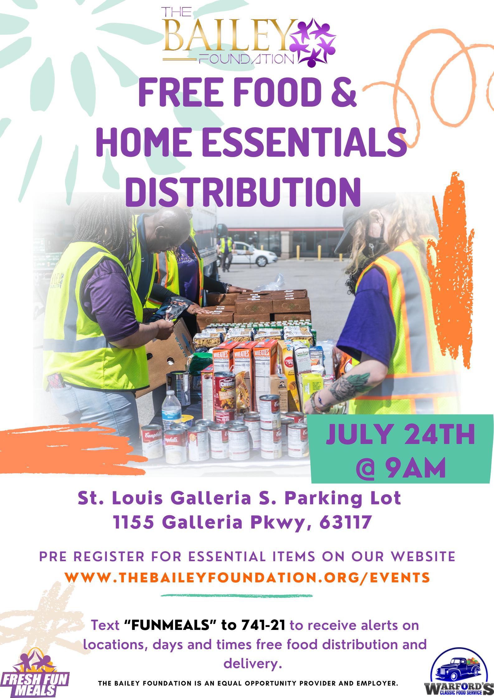 Free Food & Home Essentials Distribution