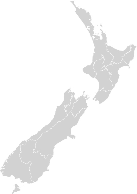 Map of New Zealand in grey and white