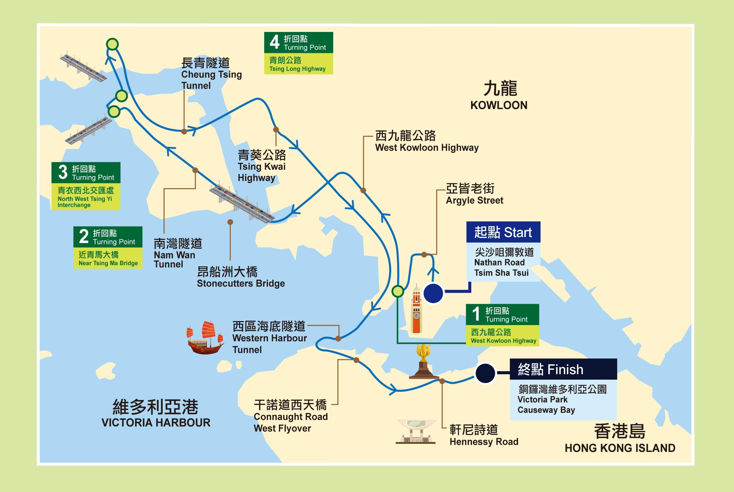 2021渣馬全馬賽道路線圖:起點-九龍尖沙咀彌敦道