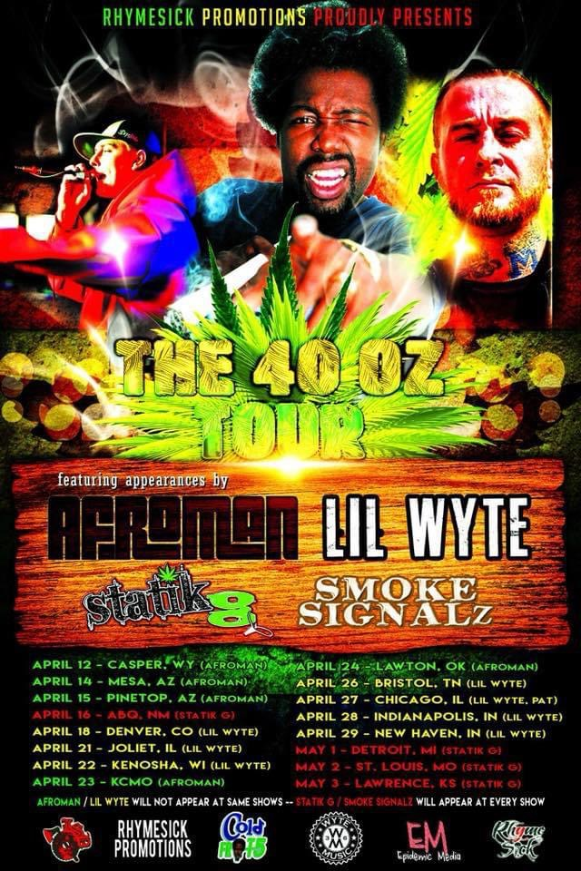 Flyer from 2018 featuring Afroman, Lil Wyte, and Statik G on a national tour