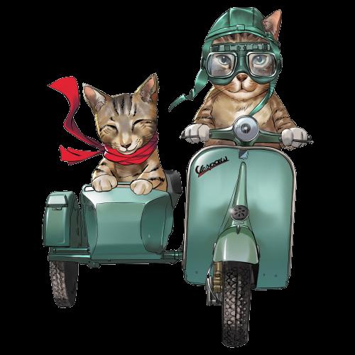 Cartoon Oskar & Klaus ride a retro moped