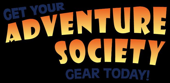 Fun orange text reads 'Get your Adventure Society Gear Today' for Oskar & Klaus Merch