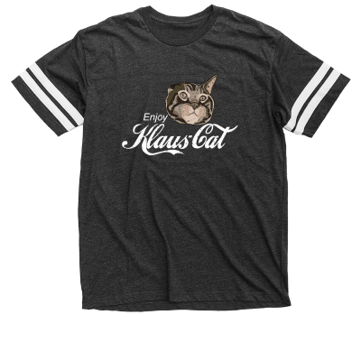 Klaus is it! Oskar and Klaus merch, a Dark Grey and White Football Jersey Tee