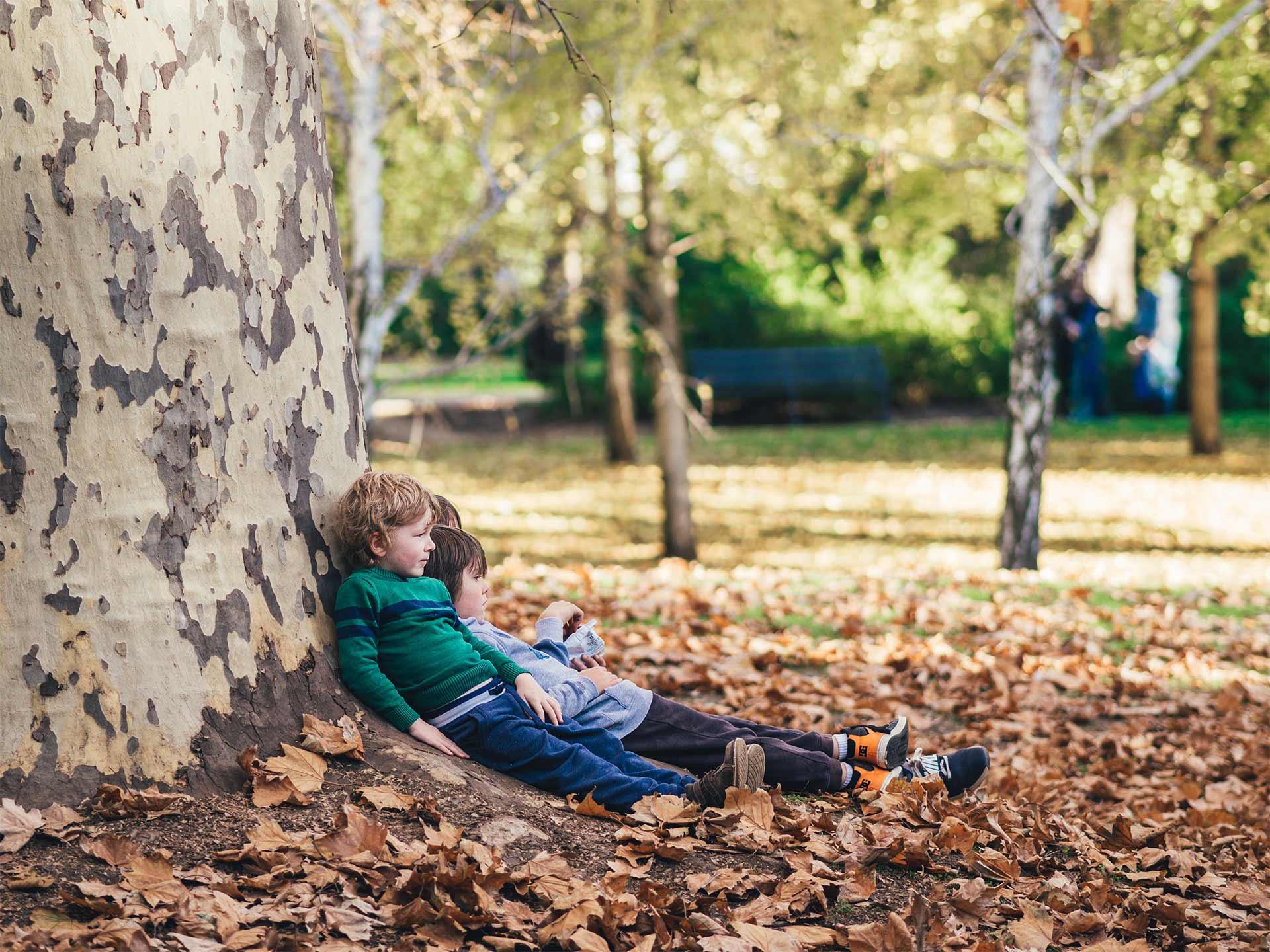 Photo of three children sitting down next to a tree
