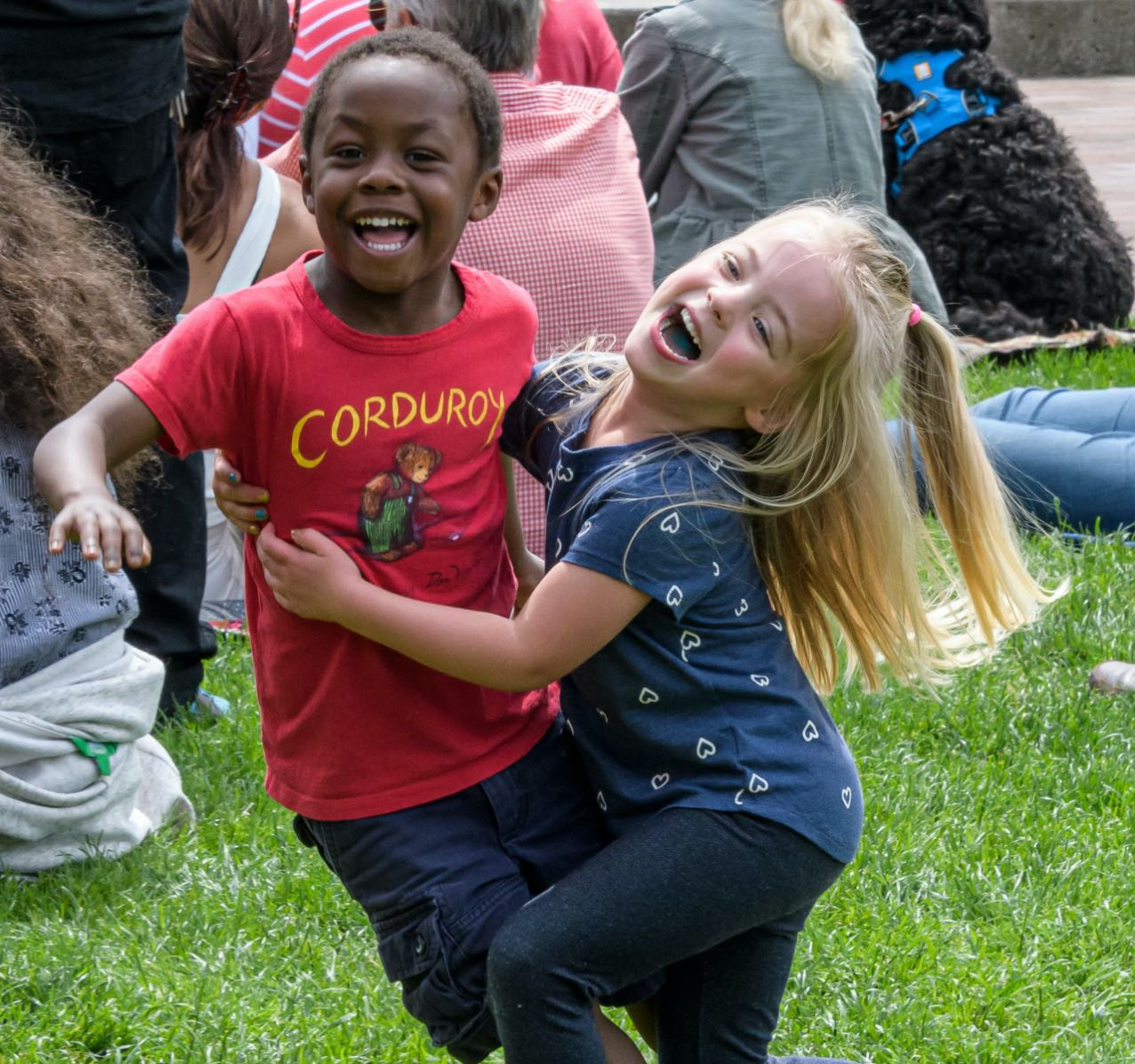 Photo of two happy children playing