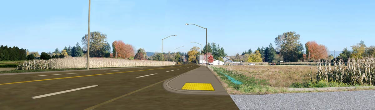 Visualization of 52nd Street East in front of Picha Farms, after construction, looking east.