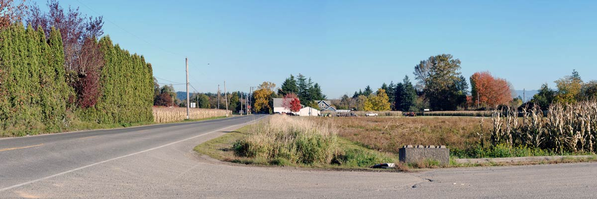 November 1, 2020 photo of 52nd Street East in front of Picha Farms, looking east.
