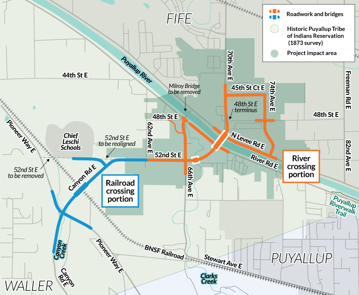 This map shows where the project sits within the historic boundaries of the Puyallup Tribe ofIndians reservation.