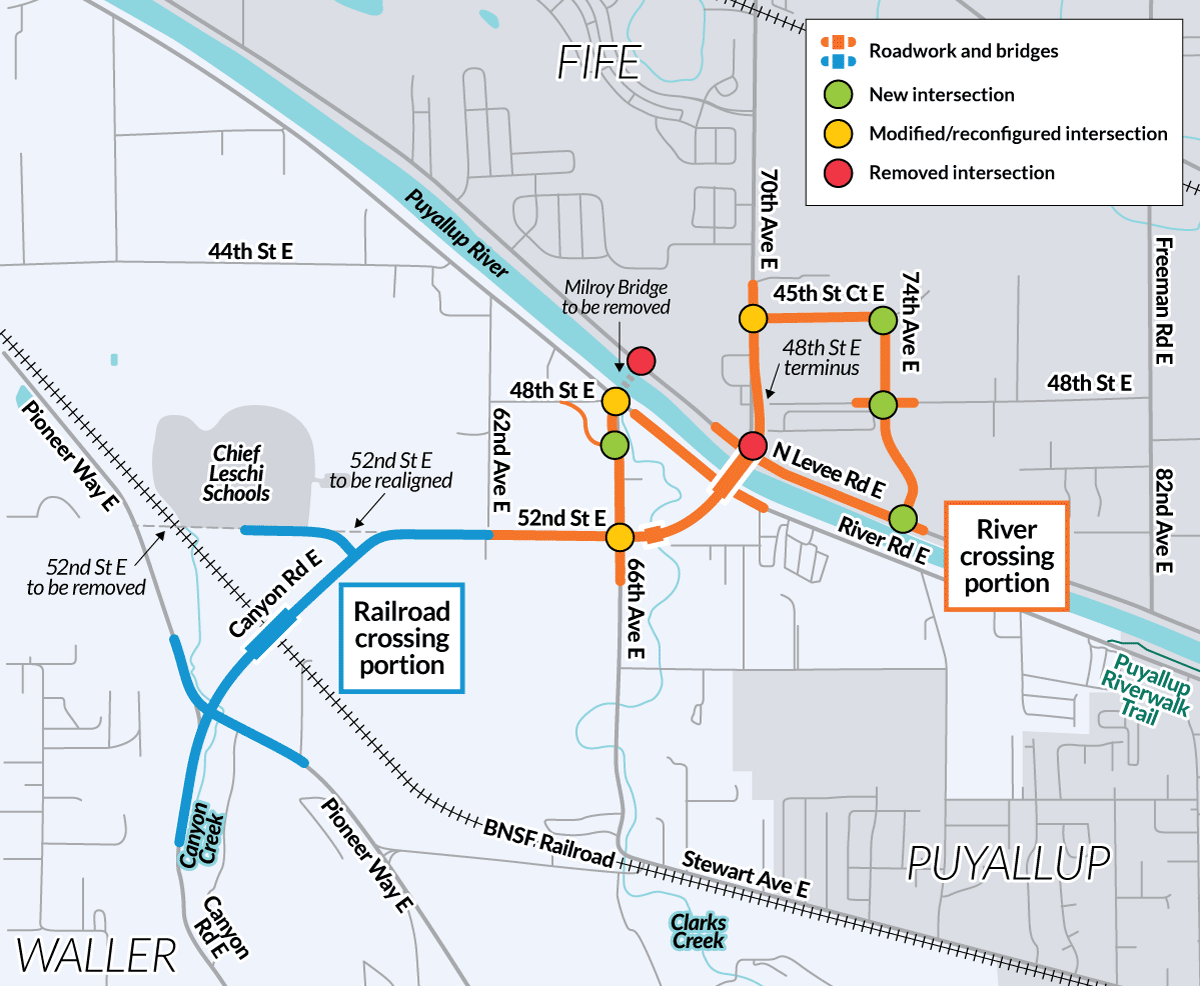 This map shows where the project will add, modify, or remove intersections.