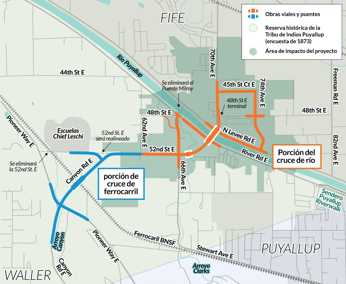 Este mapa muestra donde se encuentra el proyecto dentro de los limites históricos de la reserva de la Tribu de Indios Puyallup.