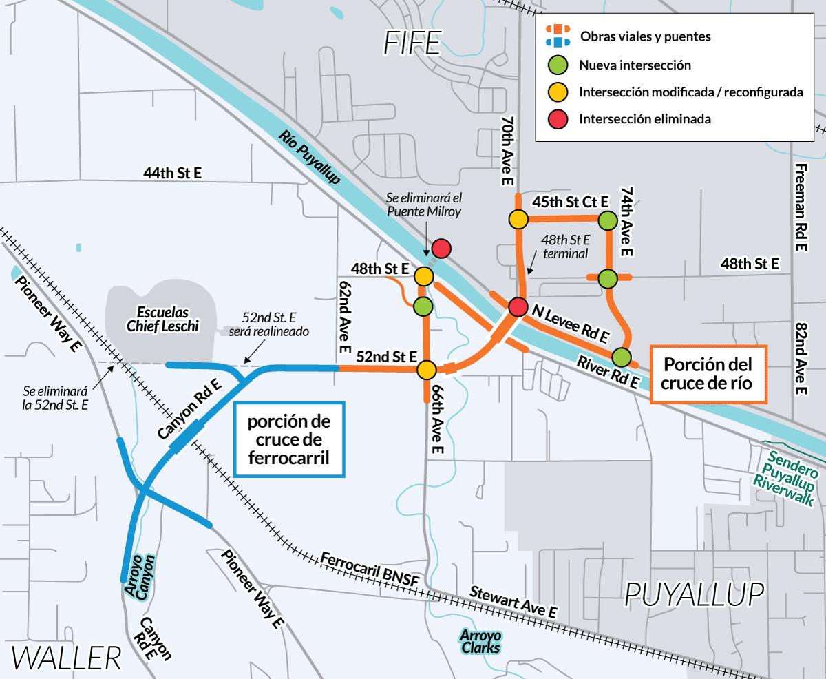 Este mapa muestra donde el proyecto agregará, modificará o eliminará intersecciones.