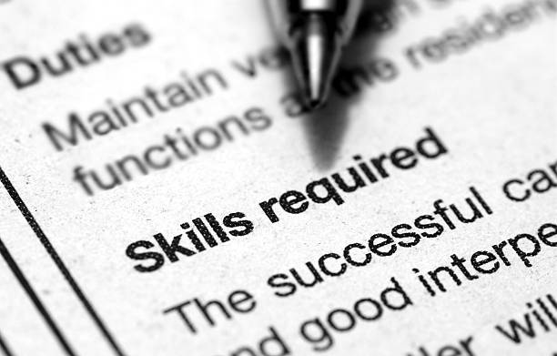 skills required This is an image of paper text. job description stock pictures, royalty-free photos & images