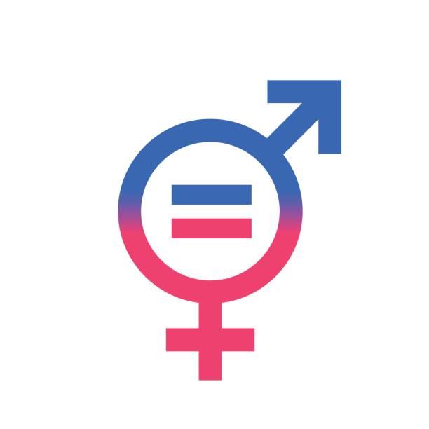 Gender equal sign vector icon. Gender equal sign vector icon. Men and woomen equal concept icon. gender stock illustrations