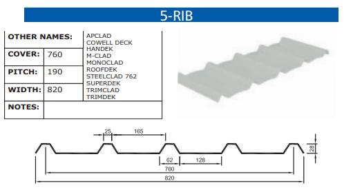 5-Rib Fibreglass Profile
