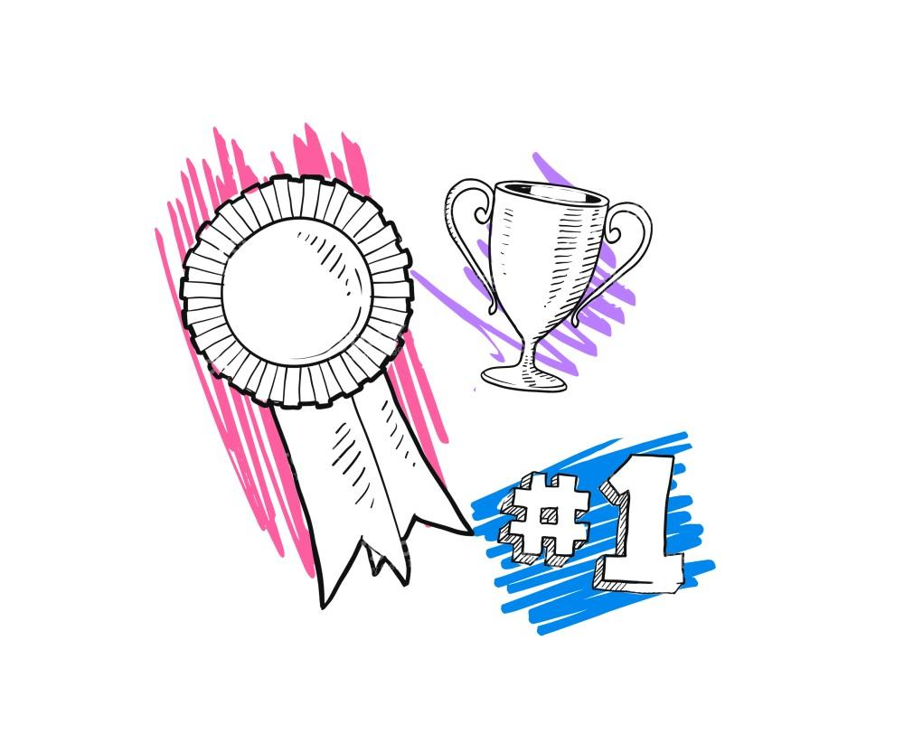 Illustrationer av vinst med pokal, nummer 1 och pris