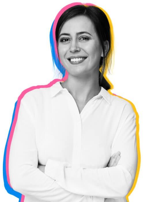 Profil av nöjd kvinnlig ekonom