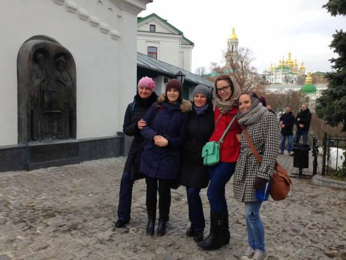 Our CELTA teacher Amy Butler going on a trip to Kiev's UNESCO World Heritage sites with her coworkers