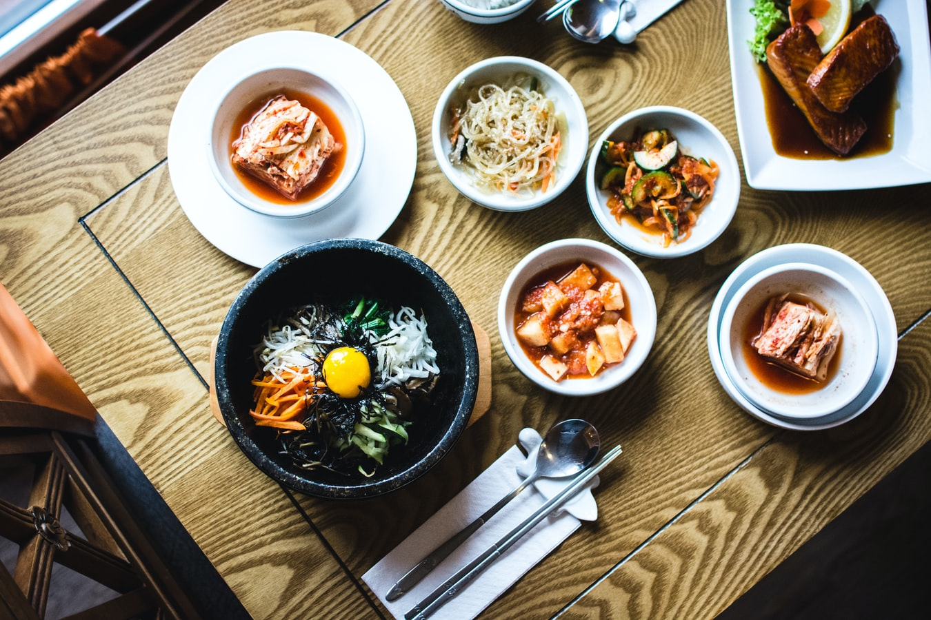 Delicious Korean food full of flavors, textures and colours