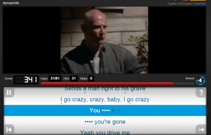 The website uses missing lyrics to train students' language skills in a fun way