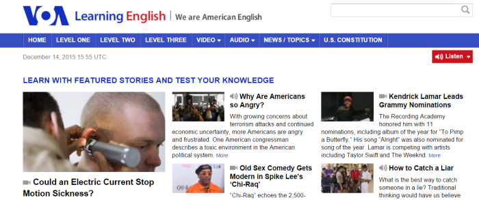 VOA is a great news website that offers abundant learning resources for beginner English learners
