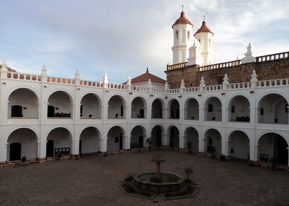 The city of Sucre, Bolivia has many beautiful courtyards and charming places to visit