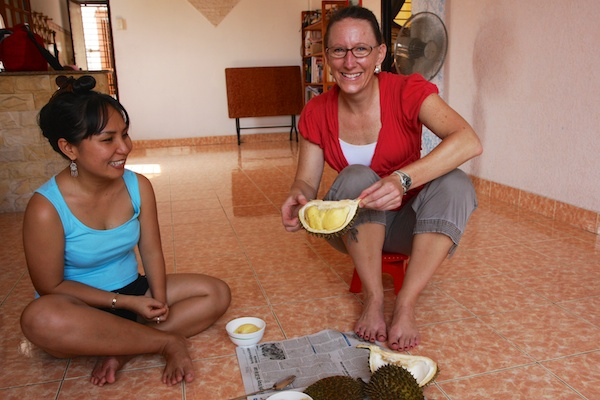 Expat ESL teachers can try exotic, tropical fruits when they are working abroad, teaching English in tropical countries