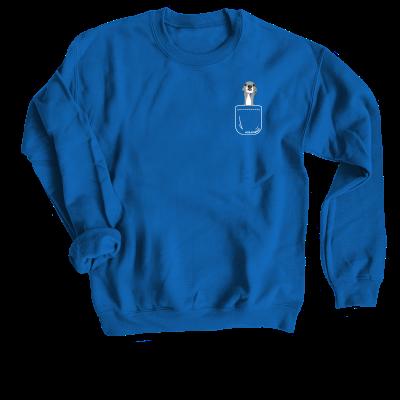 Tika the Iggy Pocket merch, a royal blue Crewneck Sweatshirt