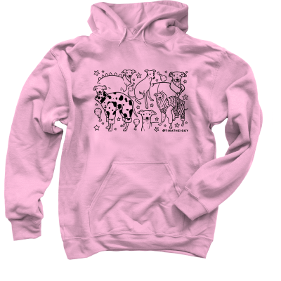 Tika the Iggy Doodle merch, a light pink Pullover Hoodie