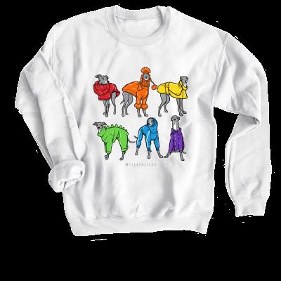 Tika the Iggy Pride merch, a white Crewneck Sweatshirt