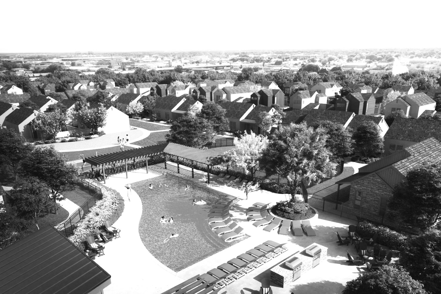 parcHAUS community pool, pickle ball courts and neighborhood