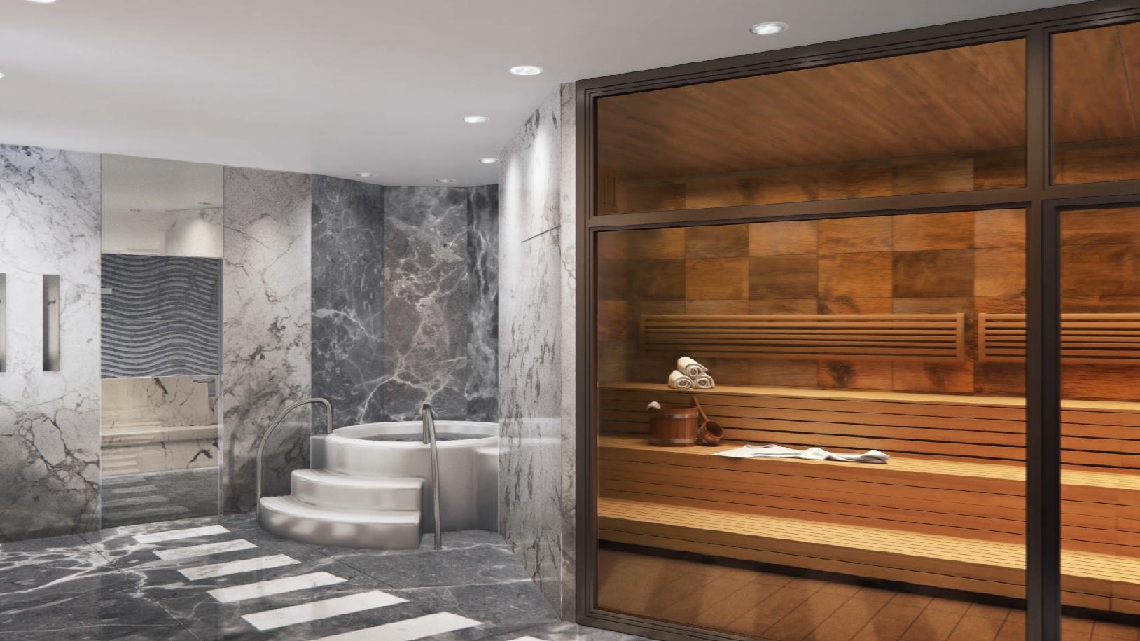 Sauna de l'espace Spa et bien-être du Rivage Annecy