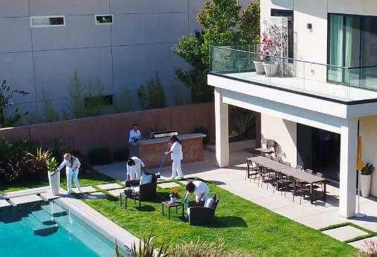 team cleaning backyard
