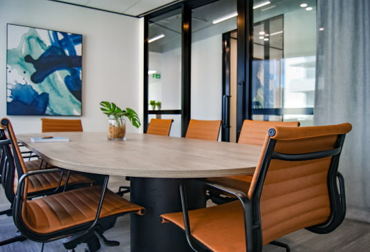 clean conference room in office
