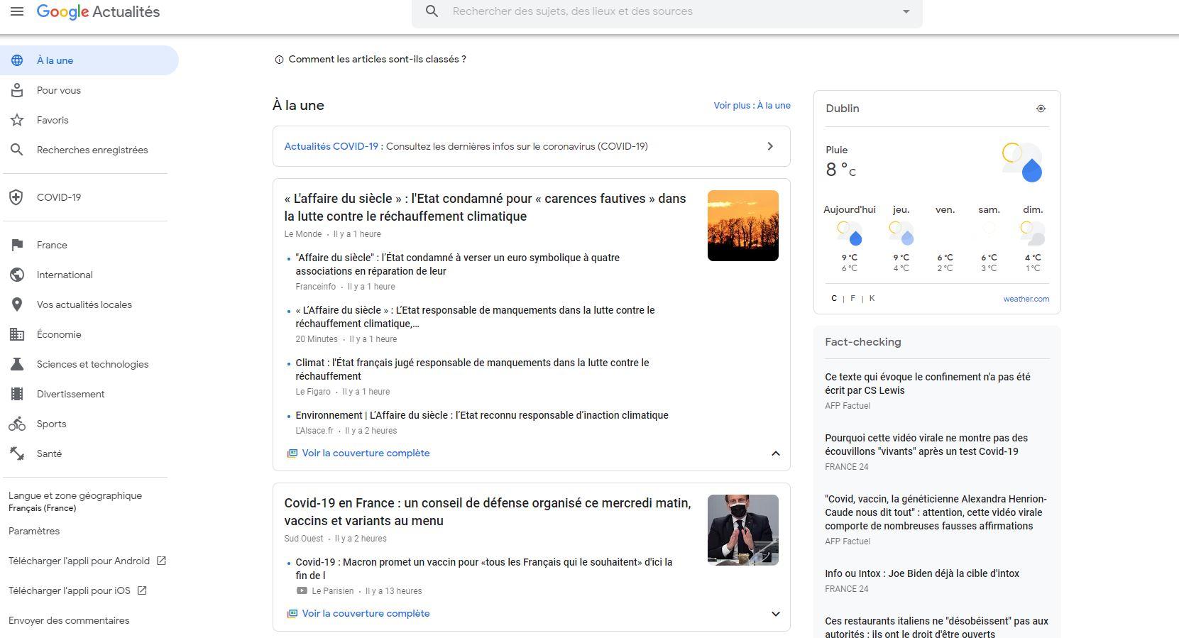 Page d'accueil news Google Actualité