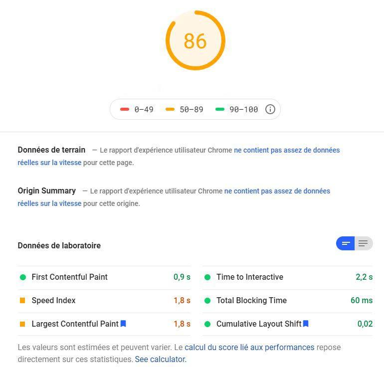 Score Core Web Vitals