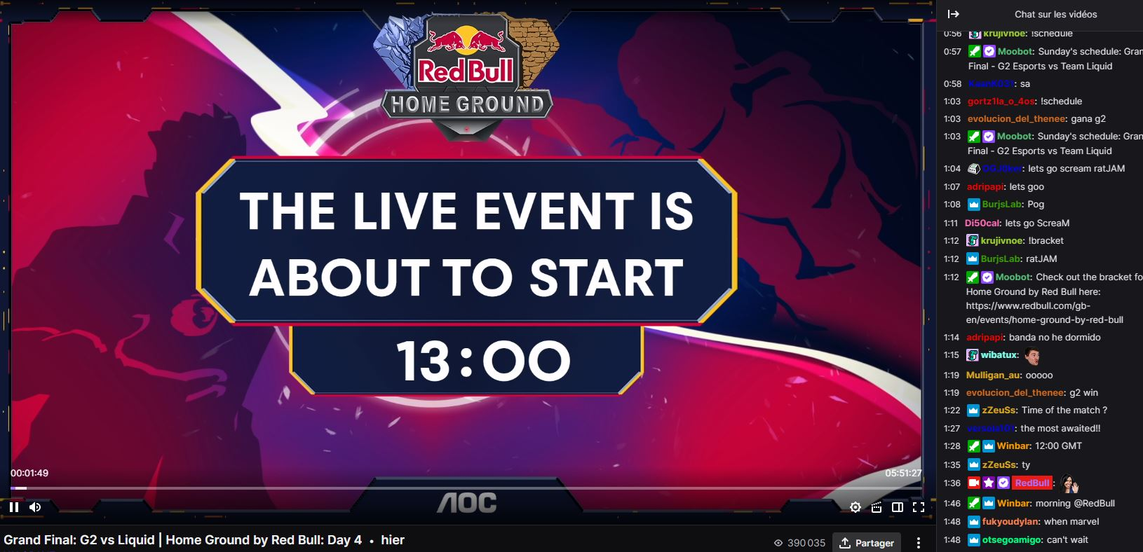 Page Twitch Redbull avec tchat