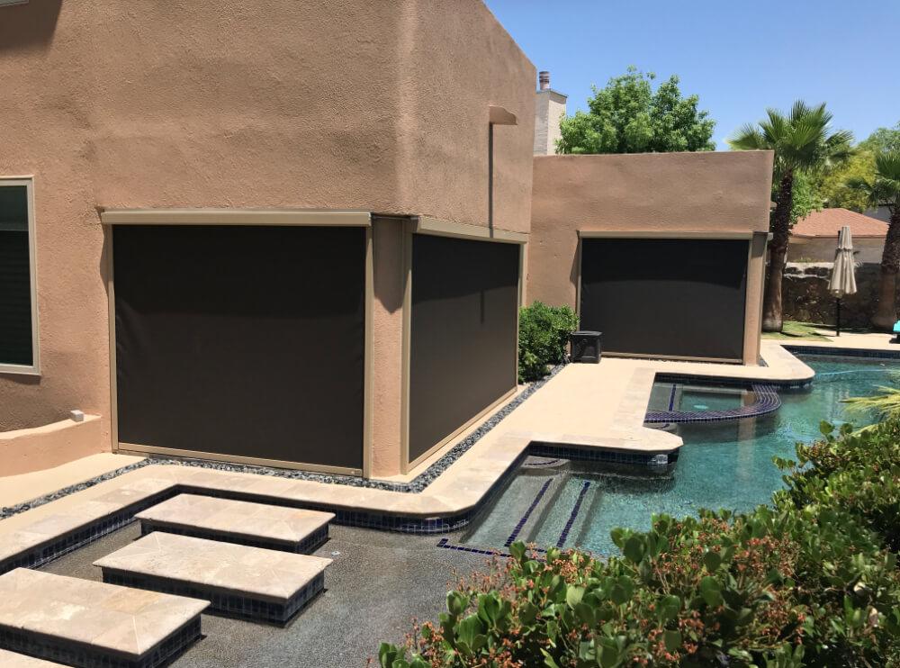Retractable shade screen in El Paso near pool