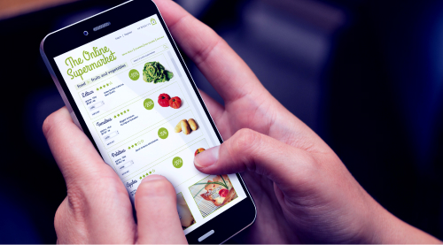 Customer using mobile phone for food ordering.