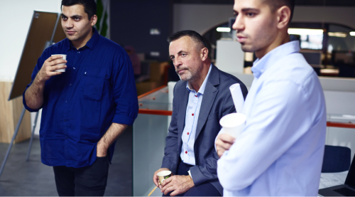Entrepreneurial business men listening with concern.