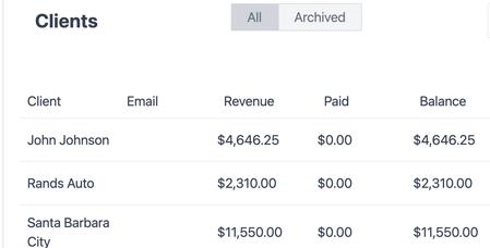 Invocier.ai Clients Screenshot